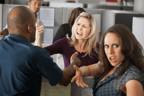 Colleagues and co-workers in a business arguing with each other