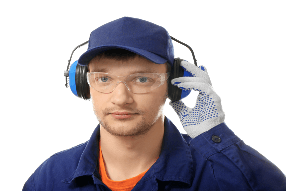 A worker wearing ear protection and other wearable PPE