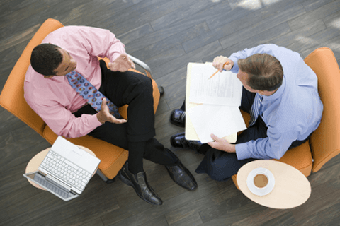 An executive coaching session with a senior manager