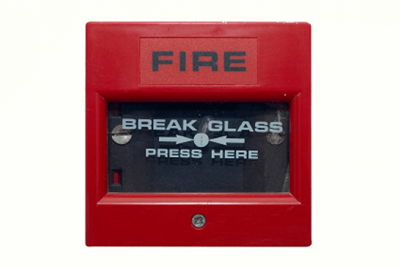 A red fire alarm