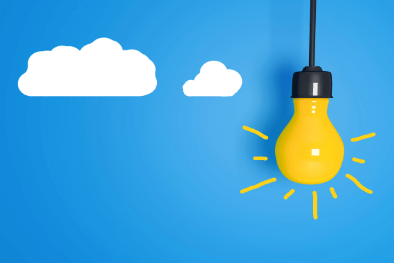 A drawing of a light bulb and clouds