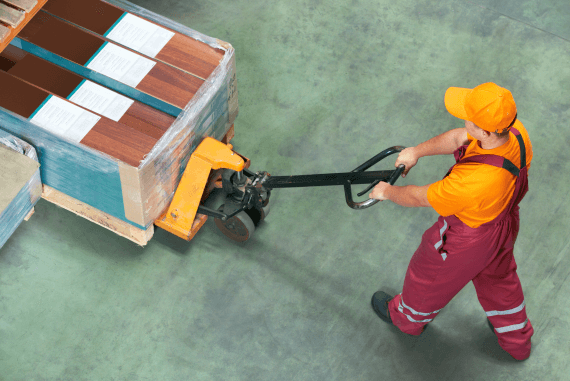 Manual handling with a mechanical aid to assist