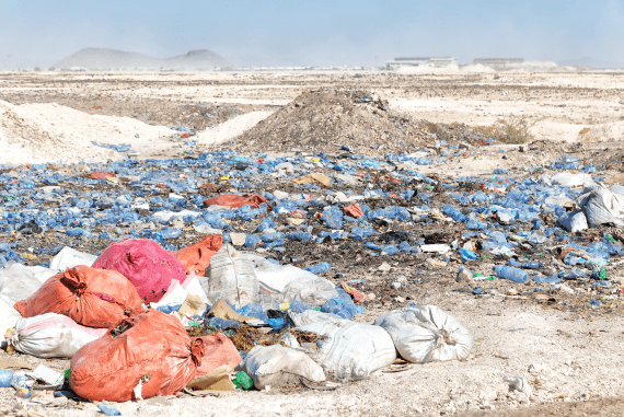 A rubbish tip contaminating the land