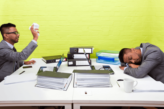 Two employees slacking off at work