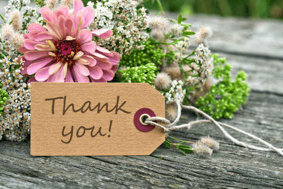 Flowers with a thank you tag label