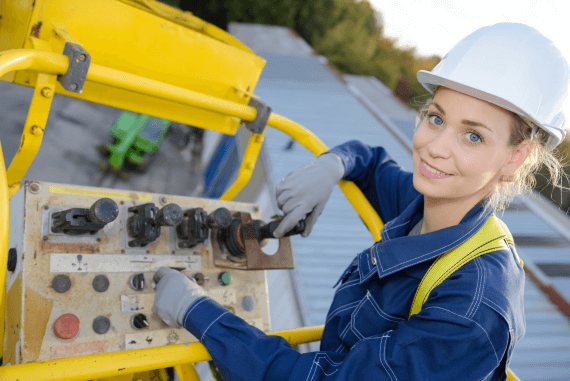 A young woman working at height